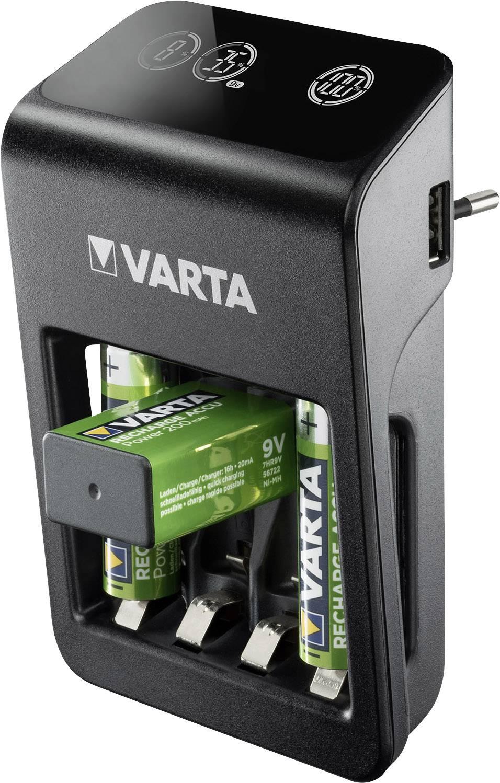 Varta LCD Plug Plus Rundzellen Ladegerät inkl. Akkus NiMH Micro (AAA), Mignon (AA), 9 V Block