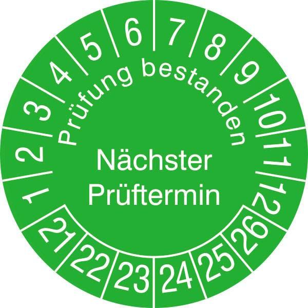 Pr/üfplakette DGUV Vorschrift 3 2021-2026 n/ächster Pr/üftermin 3cm Rund Gepr/üft nach DGUV Gelb Gr/ö/ße 100 Stk