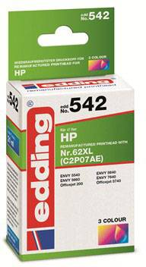 C2P07AE Edding Tintenpatrone ersetzt HP 62XL Kompatibel einzeln Cyan,
