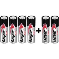 Tužková batéria typu AA alkalicko-mangánová Energizer Max 4+2, 1.5 V, 6 ks