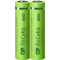 Mikrotužkový akumulátor typu AAA Ni-MH GP Batteries ReCyko+ HR03 12085AAAHCE-C2, 850 mAh, 1.2 V, 2 ks
