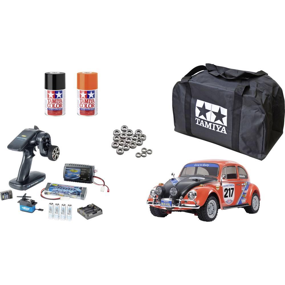 tamiya MF-01X VW Beetle Rally Brushed 1:10 RC auto Elektro Straatmodel 4WD Voordeelset 2,4 GHz Exclusieve set