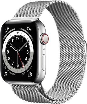 Apple Watch 6 44mm in Silber mit Edelstahlgehäuse und Milanaisearmband