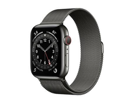 Apple Watch 6 44mm in Graphit mit Edelstahlgehäuse und Milanaisearmband