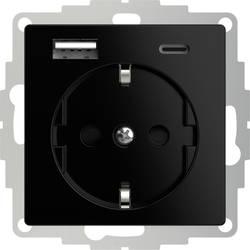 Image of 2USB 2U-449559 Schutzkontakt-Steckdose mit USB-Ladeausgang, erhöhter Berührungsschutz, VDE IP20 Schwarz