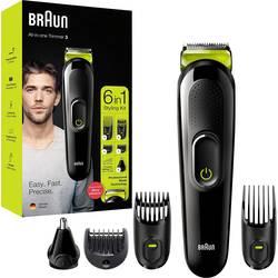 Zastrihávač fúzov, zastrihávač vlasov, zastrihávač ušných a nosných chĺpkov, holiaci strojček na tvár Braun MGK, omývateľný, čierna, zelená