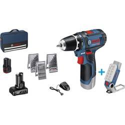 Aku vŕtací skrutkovač Bosch Professional GSR 12V-15 + GLI DeciLED 12 V, 2 Ah, 4 Ah, Li-Ion akumulátor
