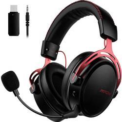 Mipow herný headset jack 3,5 mm, s USB, bezdrôtový 2,4 GHz bezdrôtový, stereo cez uši čierna, červená