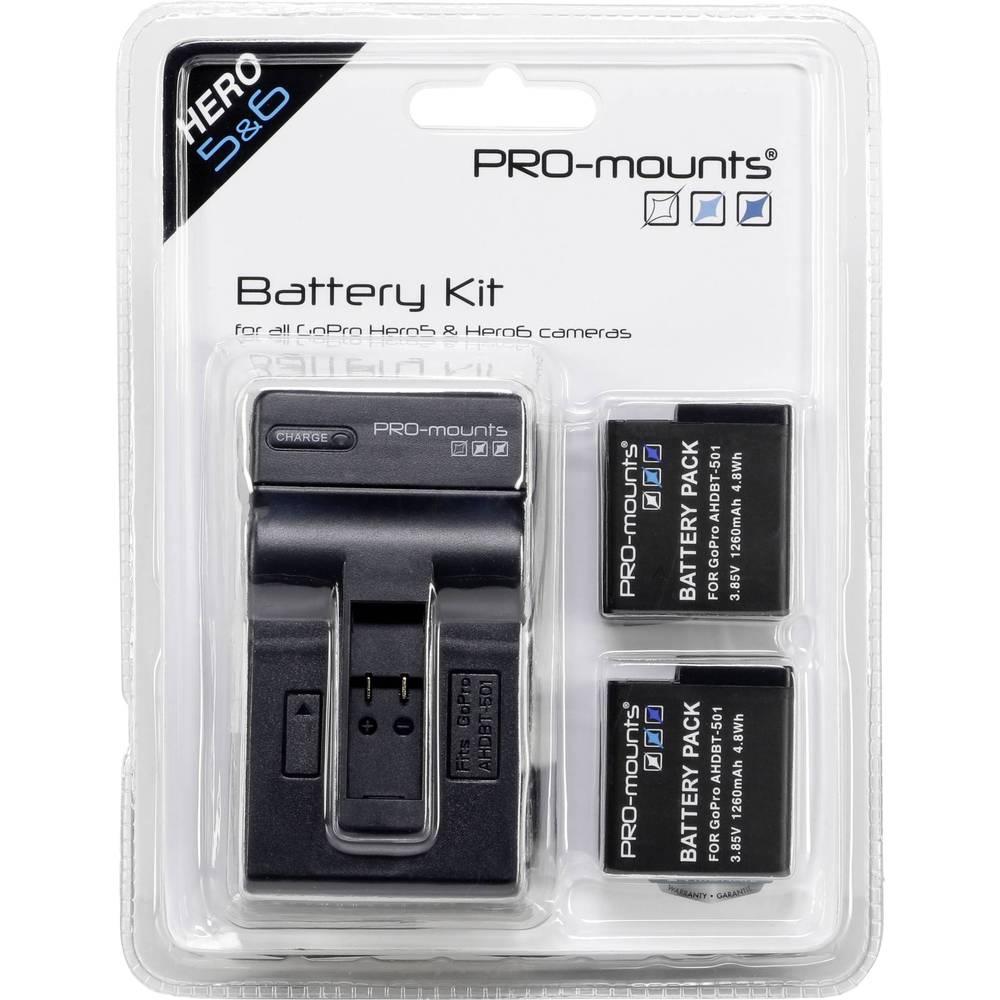 Pro-mounts batteri kit + laddare 1260 mAh för GoPro 5 / 6 / 7