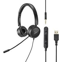 Headset k PC Renkforce RF-HS-360 na ušiach s USB stereo čierna