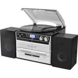 Stereo systém soundmaster MCD5550SW, AUX, Bluetooth, CD, DAB+, kazeta, gramofón, rádioprehrávač, SD, UKW, USB, čierna