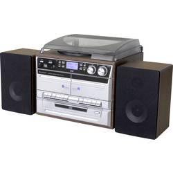 Stereo systém soundmaster MCD5550DBR, AUX, Bluetooth, CD, DAB+, kazeta, gramofón, rádioprehrávač, SD, UKW, USB, hnedá