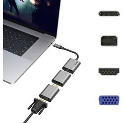 USB-C / Mini-DisplayPort / HDMI / VGA adaptér Hama 00200306, sivá