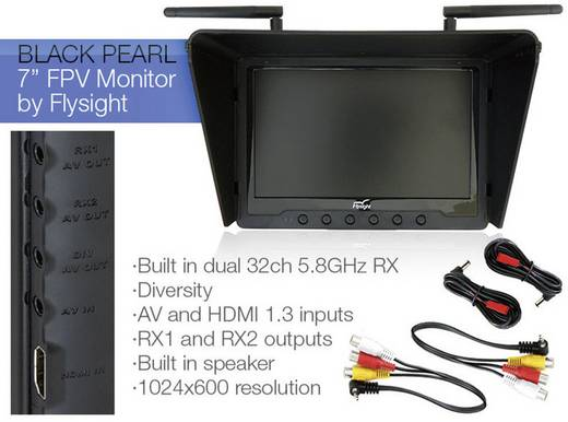 "Flysight Black Pearl RC 7"" FPV LCD Monitor Dual 5.8GHz Diversity 32ch RX 1024x600 NO BLUE SCREEN Monitor"
