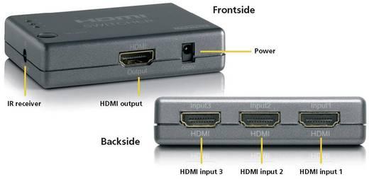 3 Port HDMI-Switch mit Fernbedienung, 3D-Wiedergabe möglich 1920 x 1080 Pixel Marmitek Connect 310 Schwarz