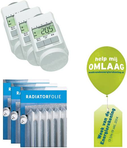 Starter Paket elektronisch 5 bis 29.5 °C Verwarming besparingspakket (3x radiatorthermostaat + 3x radiatorfolie)