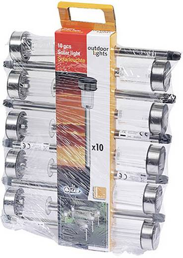 Solar-Gartenleuchte 10er Set LED Kalt-Weiß Outdoor Lights Silber