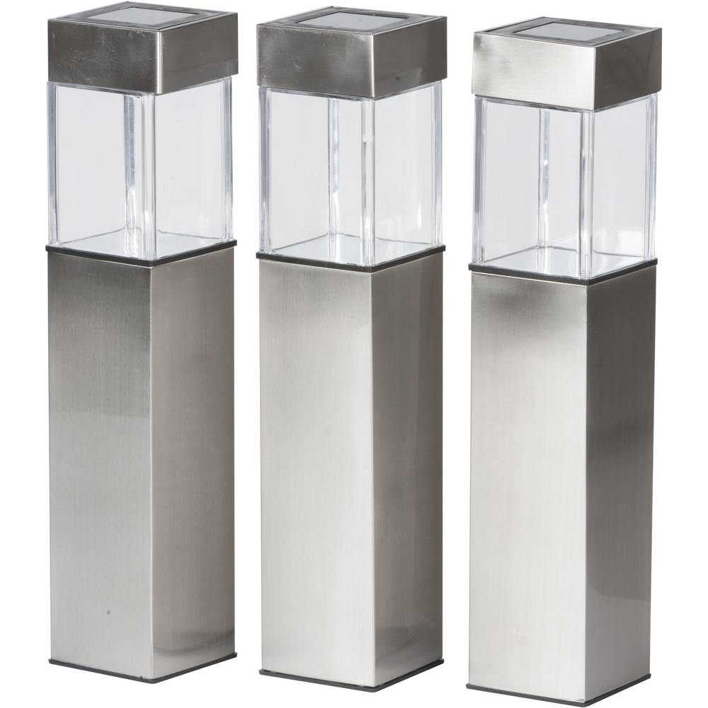 lampadaire d 39 ext rieur solaire grundig ampoule led set de 3 blanc chaud argent 3 pc s. Black Bedroom Furniture Sets. Home Design Ideas