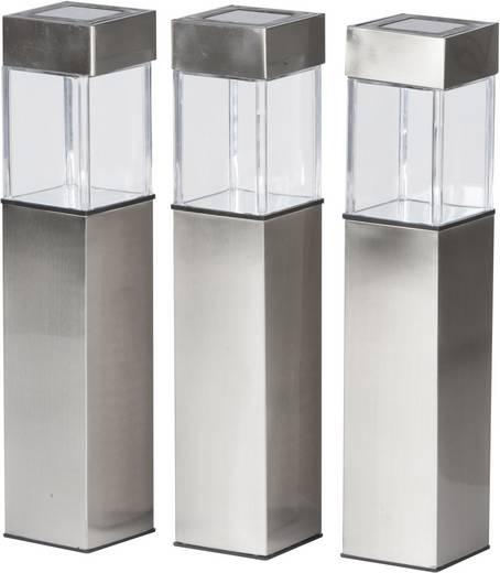 Solar-Außenstandleuchte 3er Set LED (einfarbig) Warm-Weiß Grundig Silber