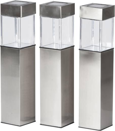 Solar-Außenstandleuchte 3er Set LED Warm-Weiß Grundig Silber
