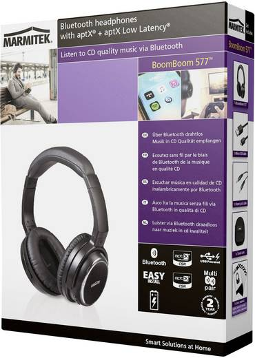 Marmitek BoomBoom 577 Bluetooth® Reise Kopfhörer Over Ear Headset, NFC Schwarz