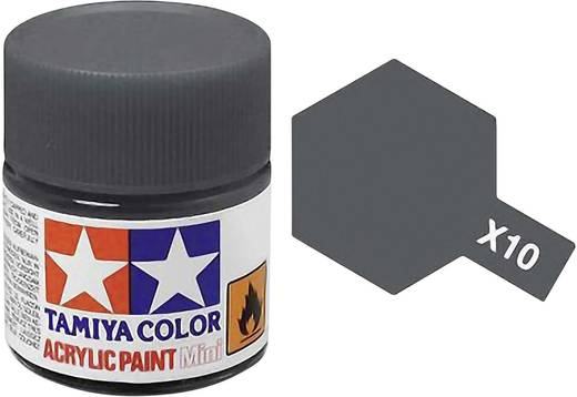 Tamiya 81010 Acrylfarbe Grau (metallic) Farbcode: X-10 Glasbehälter 23 ml