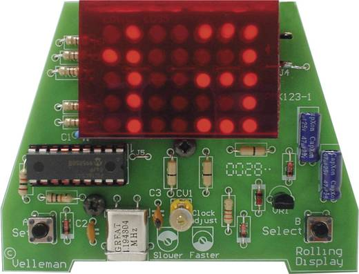 LED Uhr Velleman MK123 Ausführung (Bausatz/Baustein): Bausatz 9 V/DC, 12 V/DC