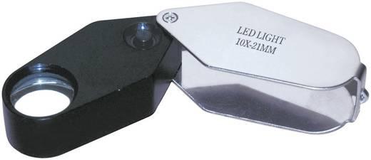 Einschlaglupe mit LED-Beleuchtung Vergrößerungsfaktor: 10 x Linsengröße: (Ø) 21 mm