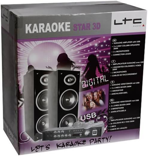 Karaoke-Anlage LTC Audio Karaoke Star 3D-BT Set USB Inkl. Mikrofon, Inkl. Lautsprecherbox, Inkl. Karaoke-Funktion