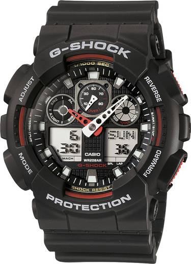 Casio Armbanduhr GA-100-1A4ER (B x H) 51.20 mm x 55 mm Schwarz, Rot Gehäusematerial=Kunstharz Material (Armband)=Kunsth