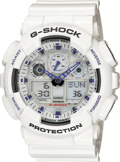 Casio Armbanduhr GA-100A-7AER (B x H) 51.20 mm x 55 mm Weiß, Blau Gehäusematerial=Kunstharz Material (Armband)=Kunsthar