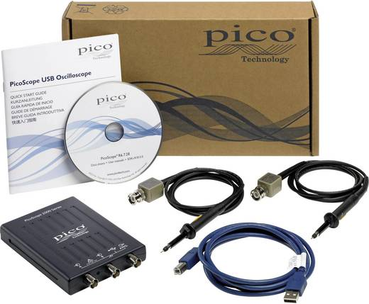 USB-Oszilloskop pico 2204A 10 MHz 2-Kanal 50 MSa/s 8 kpts 8 Bit Kalibriert nach ISO Digital-Speicher (DSO), Funktionsgen