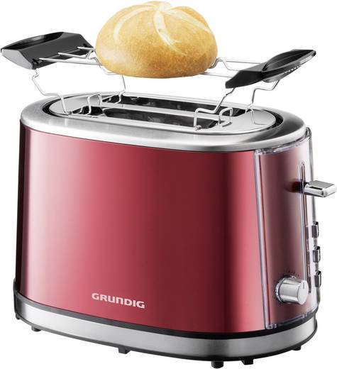 Grundig TA6330 Toaster mit Brötchenaufsatz Rot (metallic), Edelstahl