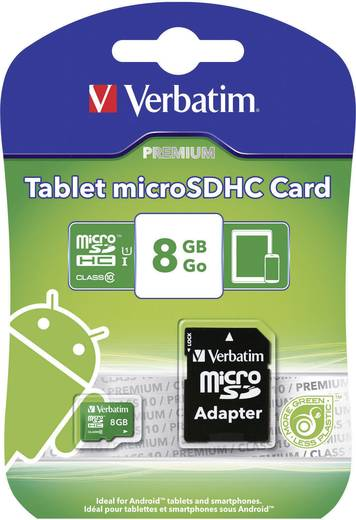 microSDHC-Karte 8 GB Verbatim Tablet Class 10, UHS-I inkl. SD-Adapter