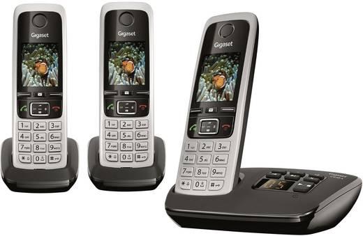 Schnurloses Telefon analog Gigaset C430A Trio Anrufbeantworter, Headsetanschluss, Babyphone, Freisprechen Silber, Schwar