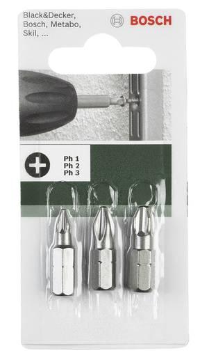 Kreuzschlitz-Bit PZ 1, PZ 2, PZ 3 Bosch Accessories extra hart D 6.3 3 St.