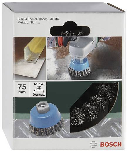 Bosch Accessories 2609256503 Topfbürste Ø 75 mm Stahldraht vermessingt M 14 1 St.
