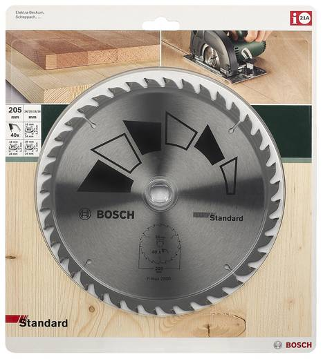 Kreissägeblatt STANDARD Bosch Accessories 2609256822 Durchmesser: 205 mm Zähneanzahl: 40 Sägeblatt