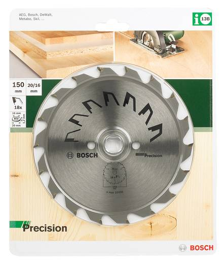 Kreissägeblatt PRECISION Bosch Accessories 2609256852 Durchmesser: 150 mm Zähneanzahl: 18 Sägeblatt
