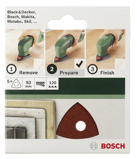 Deltaschleifpapier mit Klett, ungelocht Körnung 80 Eckmaß 82 mm Bosch Accessories 2609256A44 5 St.