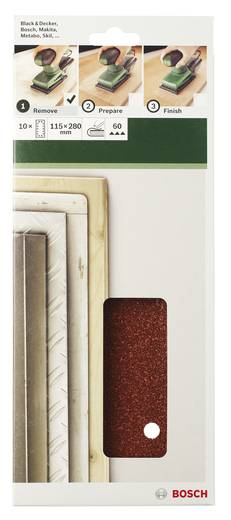 Schwingschleifpapier gelocht Körnung 60 (L x B) 280 mm x 115 mm Bosch Accessories 2609256B27 10 St.