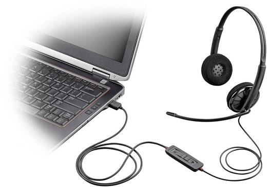Telefon-Headset USB schnurgebunden, Stereo Plantronics Blackwire C320-M On Ear Schwarz