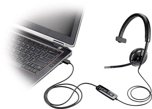 Telefon-Headset USB schnurgebunden, Mono Plantronics Blackwire C510 On Ear Schwarz, Silber