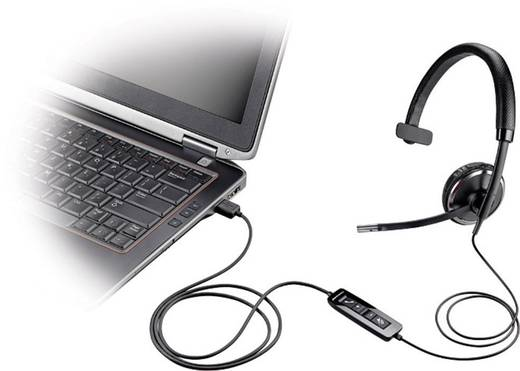 Telefon-Headset USB schnurgebunden, Mono Plantronics Blackwire C510-M On Ear Schwarz, Silber