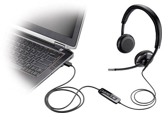 Plantronics Blackwire C520-M Telefon-Headset USB schnurgebunden, Stereo On Ear Schwarz, Silber