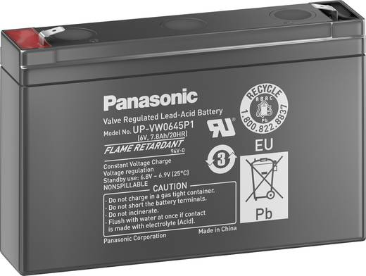 Bleiakku 6 V 7.8 Ah Panasonic Plomb 6V 7,5 Ah UP-VW0645P1 Blei-Vlies (AGM) (B x H x T) 150 x 94 x 34 mm Flachstecker 6.3