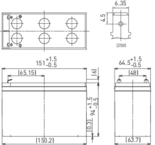 Panasonic UP-VW1245P1 Bleiakku 12 V 7.8 Ah Blei-Vlies (AGM) (B x H x T) 151 x 94 x 65 mm Flachstecker 6.35 mm Wartungsf