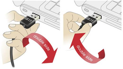 USB 2.0 Anschlusskabel [1x USB 2.0 Stecker A - 1x USB 2.0 Stecker Mini-B] 3 m Schwarz beidseitig verwendbarer Stecker, v