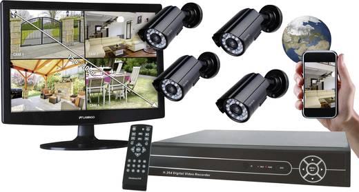 Analog Überwachungskamera-Set 4-Kanal mit 4 Kameras 420 TVL Flamingo FA421SET
