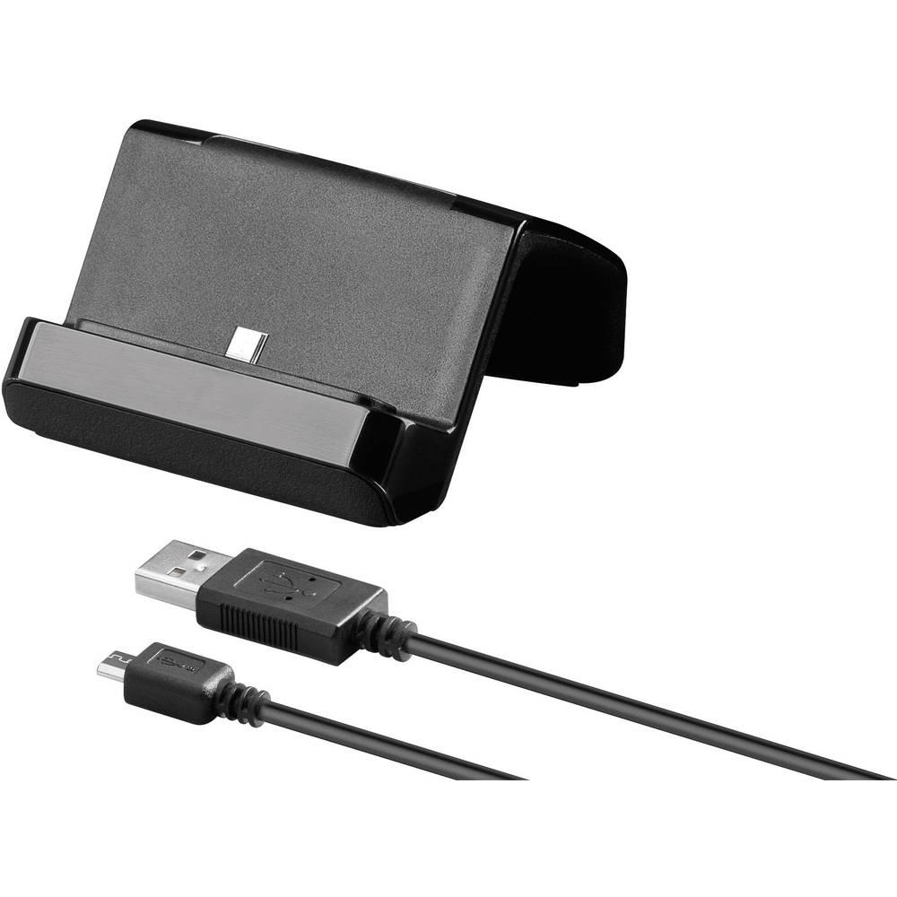 station d 39 accueil pour t l phone portable goobay 43604 micro usb noir adapt pour universal. Black Bedroom Furniture Sets. Home Design Ideas